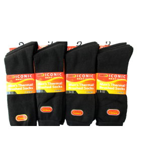 10 X 12  PAIR MENS BLACK THERMAL SOCKS- MENS BLACK SOCKS £4 DOZEN
